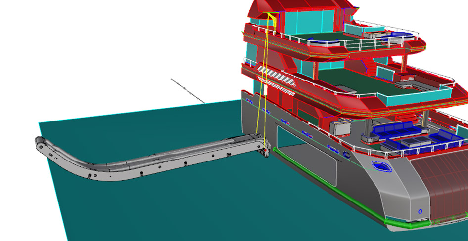 Yacht slide handling - set up and retraction step 2